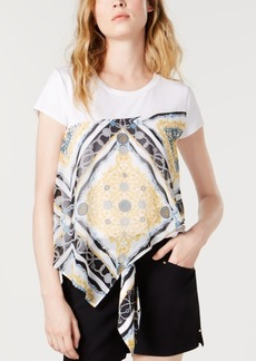 INC International Concepts Inc Scarf-Print T-Shirt, Created for Macy's