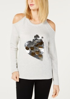 INC International Concepts I.n.c. Sequin Heart Cold-Shoulder Sweatshirt, Created for Macy's