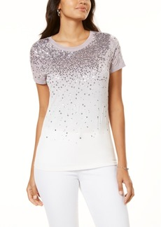 INC International Concepts Inc Sequin Ombre T-Shirt, Created for Macy's