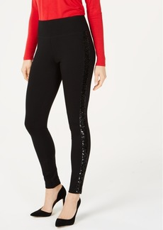 INC International Concepts Inc Curvy-Fit Sequin-Trim Pull-On Ponte Pants, Created for Macy's