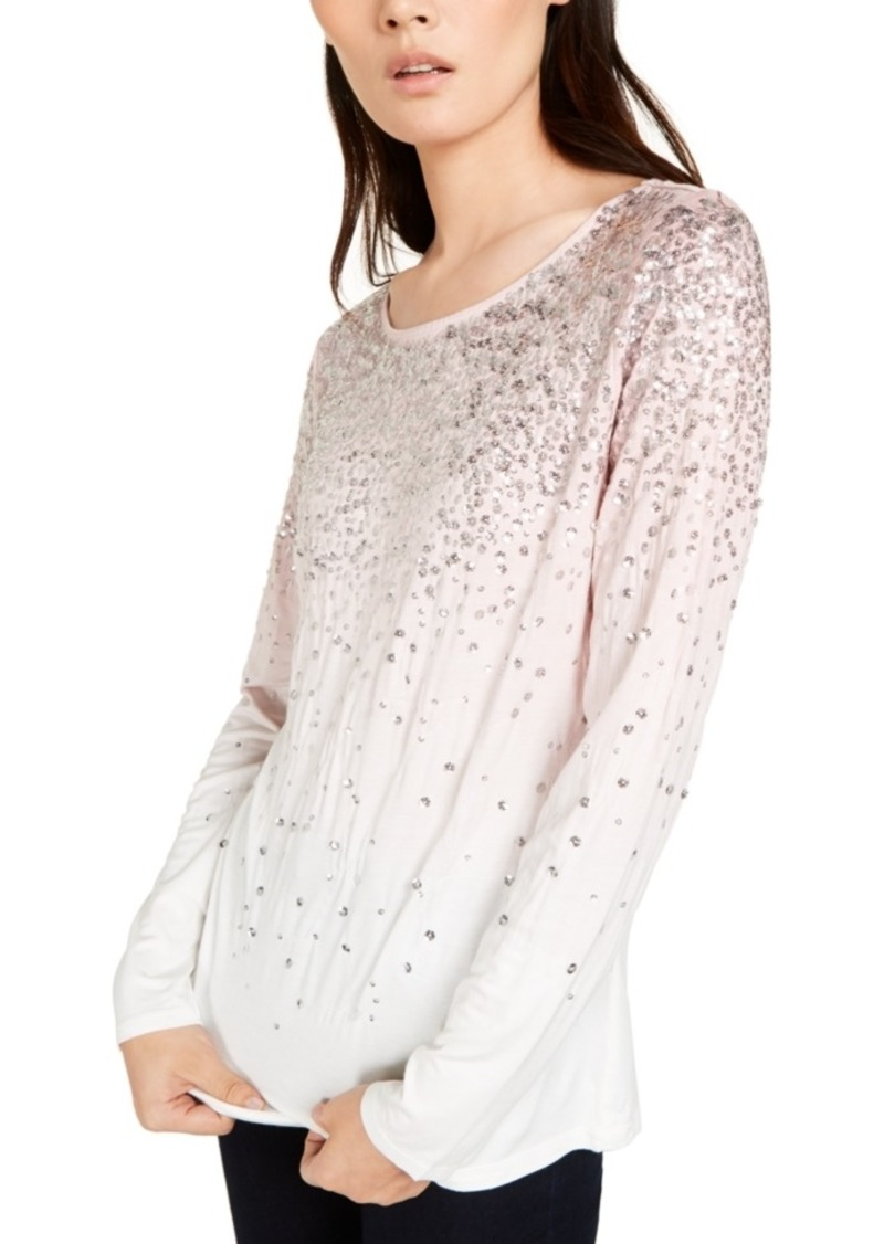INC International Concepts Inc Sequin-Trim Top, Created for Macy's