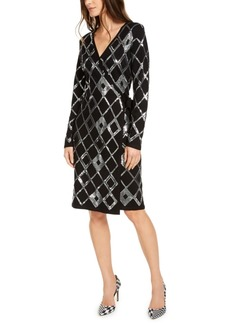INC International Concepts Inc Sequin Wrap Sweater Dress, Created For Macy's