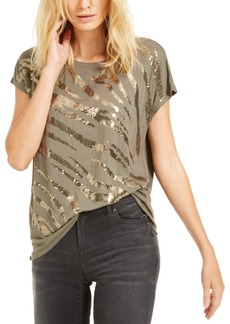 INC International Concepts Inc Sequin Zebra T-Shirt, Created For Macy's