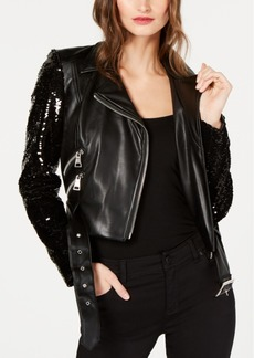 INC International Concepts I.n.c. Sequined Faux-Leather Moto Jacket, Created for Macy's