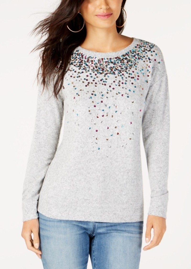 INC International Concepts Inc Sequined Knit Top, Created for Macy's