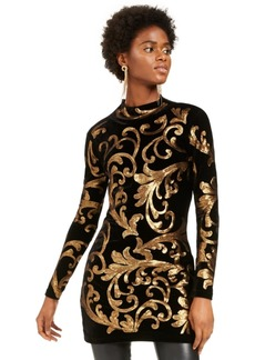 INC International Concepts Inc Sequined Mock-Neck Sweater, Created For Macy's