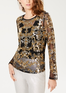 INC International Concepts I.n.c. Sequined Sheer Mesh Top, Created for Macy's