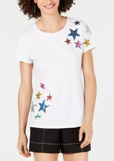 INC International Concepts I.n.c. Petite Rainbow Sequin Stars T-Shirt, Created for Macy's