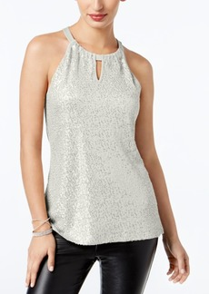 INC International Concepts Inc Sequinned Halter Top, Created for Macy's