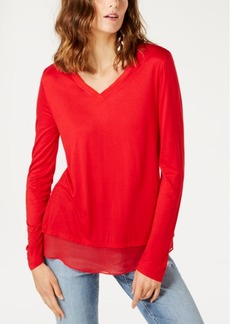 INC International Concepts Inc Sheer-Trim T-Shirt, Created for Macy's