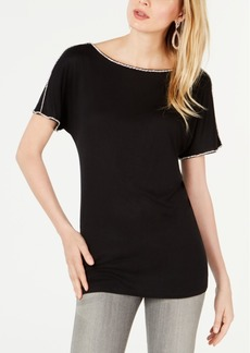 INC International Concepts I.n.c. Short-Sleeve Jewel-Embellished Top, Created for Macy's