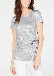 INC International Concepts Inc Side-Tie Shine Top, Created for Macy's