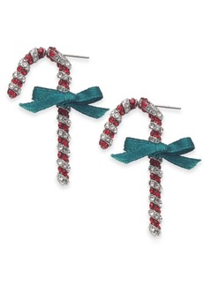 INC International Concepts Inc Silver-Tone Crystal Candy Cane Drop Earrings, Created For Macy's