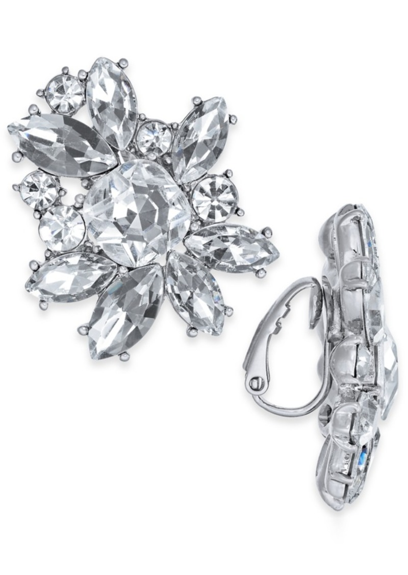INC International Concepts Inc Silver-Tone Crystal Cluster Clip-On Stud Earrings, Created For Macy's