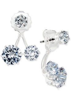 INC International Concepts Inc Silver-Tone Cubic Zirconia Double-Stud Earring Jacket Earrings, Created for Macy's