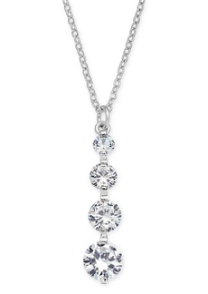 """INC International Concepts I.n.c. Silver-Tone Crystal Drop Pendant Necklace, 17"""" + 3"""" extender, Created for Macy's"""
