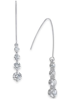 INC International Concepts Inc Silver-Tone Cubic Zirconia Crystal Drop Threader Earrings, Created for Macy's