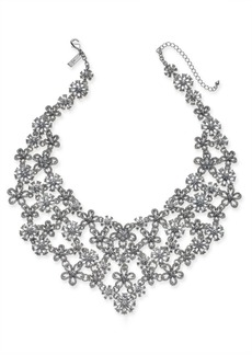 """INC International Concepts I.n.c. Silver-Tone Crystal Flower Statement Necklace, 18"""" + 3"""" extender, Created for Macy's"""