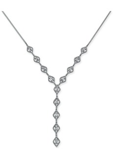 "INC International Concepts Inc Silver-Tone Crystal Lariat Necklace, 18"" + 3"" extender, Created for Macy's"