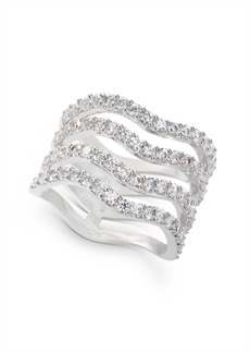INC International Concepts Inc Silver-Tone Crystal Wavy Multi-Row Ring, Created for Macy's