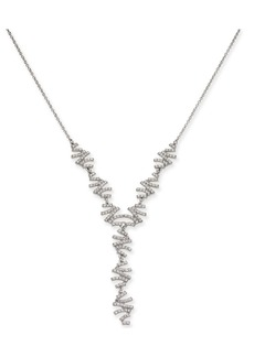 INC International Concepts Inc Silver-Tone Crystal Zig-Zag Lariat Necklace
