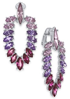 INC International Concepts Inc Silver-Tone Marquise-Crystal Clip-On Doorknocker Drop Earrings, Created For Macy's