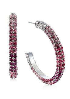 "INC International Concepts Inc Silver-Tone Medium Multicolor Pave Open Hoop Earrings, 1.25"", Created For Macy's"