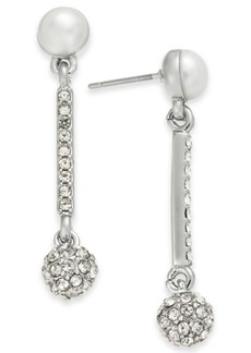 INC International Concepts Inc Silver-Tone Pave Fireball & Imitation Pearl Drop Earrings, Created for Macy's