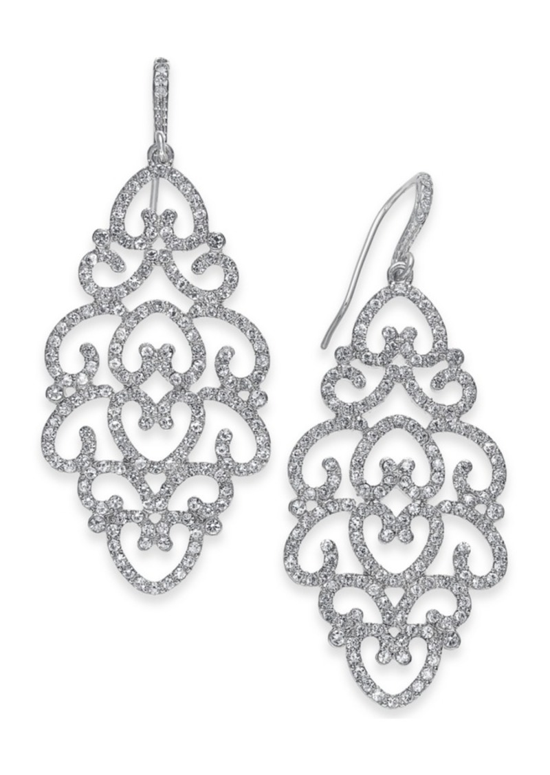 INC International Concepts Inc Silver-Tone Pave Openwork Drop Earrings, Created for Macy's