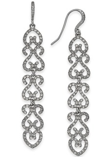 INC International Concepts Inc Silver-Tone Pave Openwork Linear Drop Earrings, Created for Macy's