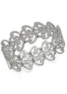 INC International Concepts Inc Silver-Tone Pave Openwork Stretch Bracelet, Created for Macy's