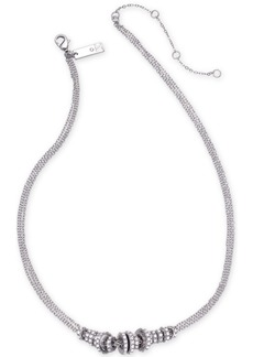 "INC International Concepts Inc Silver-Tone Pave Rondelle Bead Triple-Chain Collar Necklace, 16"" + 3"" extender, Created for Macy's"