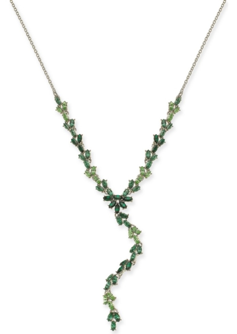 "INC International Concepts Inc Silver-Tone Stone Lariat Necklace, 18"" + 3"" extender, Created For Macy's"