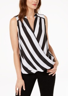 INC International Concepts Inc Sleeveless Printed Surplice Top, Created for Macy's