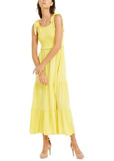 INC International Concepts Inc Smocked-Bodice Peplum Midi Dress, Created for Macy's