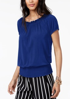 INC International Concepts I.n.c. Smocked Short-Sleeve Peasant Top, Created for Macy's