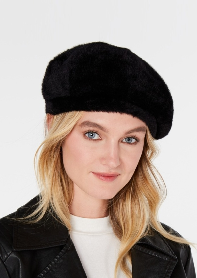 INC International Concepts Inc Solid Faux-Fur Beret, Created for Macy's