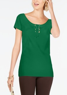 INC International Concepts Inc Solid Lace-Up Top, Created for Macy's