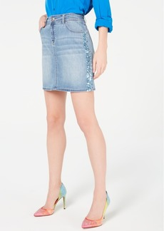 INC International Concepts Inc Sparkle-Side Jean Skirt, Created for Macy's