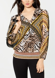 INC International Concepts I.n.c. Split-Sleeve Pom Pom Top, Created for Macy's
