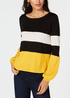INC International Concepts Inc Stripe Puff-Sleeve Sweater, Created for Macy's