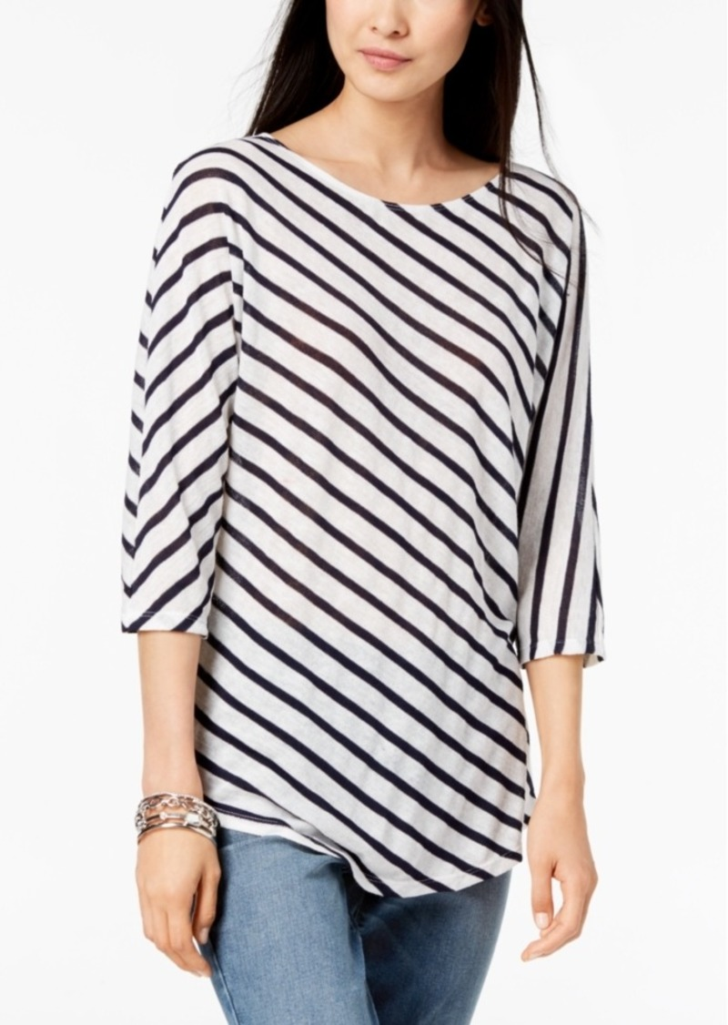 INC International Concepts Inc Striped 3/4-Sleeve Top, Created for Macy's