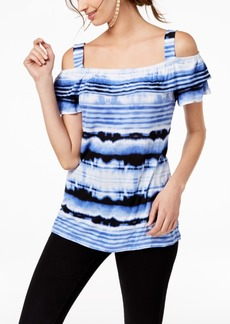 INC International Concepts Inc Striped Cold-Shoulder Top, Created for Macy's