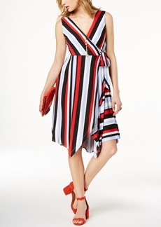 INC International Concepts I.n.c. Striped Faux-Wrap Handkerchief Dress, Created for Macy's