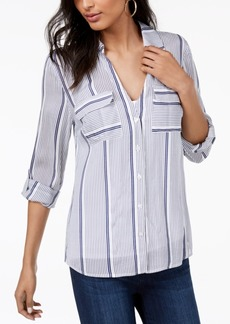 INC International Concepts I.n.c. Striped Flap-Pocket Shirt, Created for Macy's