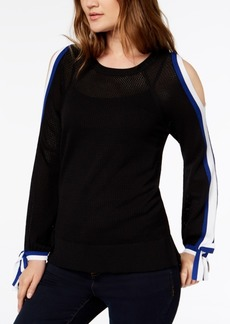 INC International Concepts I.n.c. Striped-Sleeve Cold-Shoulder Top, Created for Macy's