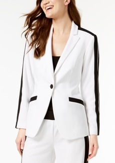 INC International Concepts I.n.c. Petite Striped-Sleeve Varsity Blazer, Created for Macy's