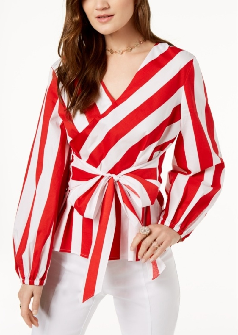 Inc International Concepts I N C Striped Wrap Blouse Created For