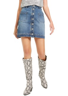 INC International Concepts Inc Studded Jean Skirt, Created For Macy's