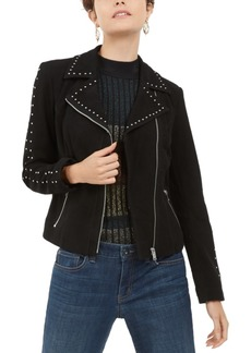 INC International Concepts Inc Suede Studded Moto Jacket, Created For Macy's